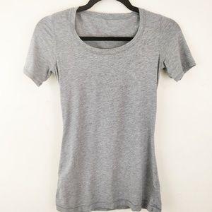 Lululemon Heathered Space Dye Basic Grey Tshirt